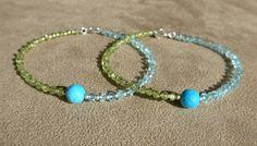 Aquamarine Bracelet, Peridot Bracelet, Turquoise Bracelet, Gemstone Bracelet, Blue Bracelet, Dainty Bracelet, Modern Bracelet, geometric by ThreeMagicGenies on Etsy
