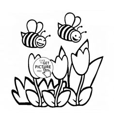 Flowers And Funny Bees Coloring Page For Kids Flower Pages Printables Free