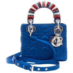 Preowned Christian Dior Lady D Bag In Electric Blue Silk Satin ($4,163) ❤ liked on Polyvore featuring bags, handbags, blue, top handle bags, color block handbags, pre owned purses, blue purse, christian dior purses and top handle handbags