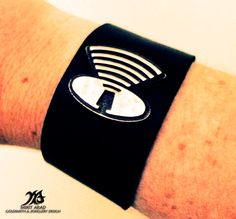 Depeche Mode Music For The Masses sterling silver & leather bracelet. Handmade by Mirit Arad