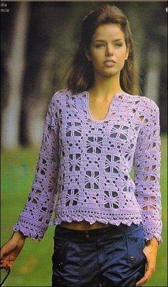 Túnica crochet violeta / patrones gratis | Crochet y Dos agujas