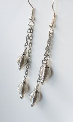 Wire bead dangle earrings by LEsquared on Etsy, $8.00