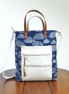 Organic cotton clouds. Tote bag with leather handles