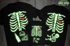 En la camiseta oscura del resplandor, resplandor en la ropa oscura, camisas de maternidad Halloween, camiseta de esqueleto bebé, camiseta de Halloween, niño, UNISEX
