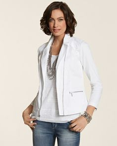 Lovely white moto jacket w/ a touch of lace Summer 2014