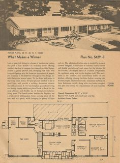 Vintage House Plans, Mid Century Homes, Plan No. Br House, I Love House, Sims House, Bedroom Floor Plans, House Floor Plans, Vintage House Plans, Vintage Homes, Nantucket Home, Ranch Style Homes