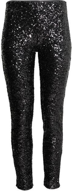 H&M Sequined Pants - Black