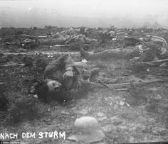 After the storm: Walter Kleinfeldt captions one of his images showing bodies strewn across the battlefield