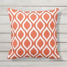 Shop Tango Orange Outdoor Pillows - Tile Pattern created by Richard__Stone. Patio Pillows, Outdoor Throw Pillows, Cushions, White Trellis, Living Room Orange, Tile Patterns, Geometric Patterns, Silk Pillow, White Pillows