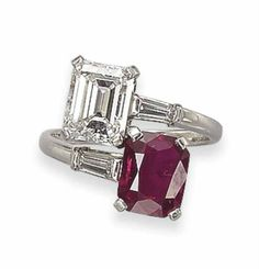A RUBY AND DIAMOND 'TOI ET MOI' RING, BY BULGARI   Set with a rectangular-cut ruby, weighing approximately 3.71 carats, and a rectangular-cut diamond, weighing approximately 2.57 carats, mounted in platinum, ring size 7½  Signed Bulgari