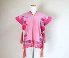Colorful Embroidered Roses Mexican Poncho Dia De by LolaAndBlack