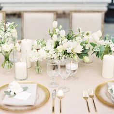 Classic, All-white Wedding Classic Wedding Theme Classic Wedding Ideas Classic Wedding Style Classic Wedding Inspiration Classic Wedding Decor Classic Wedding Reception Classic Wedding Ceremony Wedding Table Flowers, White Wedding Flowers, Wedding Table Settings, Wedding Reception Decorations, Wedding Centerpieces, White Flowers, Floral Wedding, Wedding Colors, Wedding Ideas