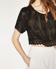 Image 3 of EMBROIDERED CROPPED TOP from Zara