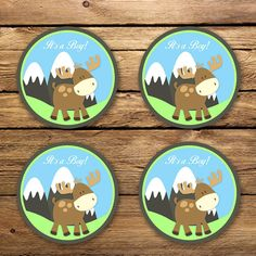 Moose Baby Shower Cupcake Toppers  Unique by Poetryinsimplethings