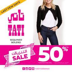 Last Few Days! SALE – 50% discount on selected Fashion items at TATI!  #tatimiddleeast #Sale #offer #Fashion #meccamall #Abdalimall #jordan #new #Trend