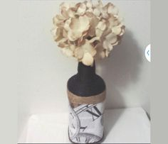 Upcycle Tan & Brown Rustic Vase  Natural Yarn by UniqueWrapping
