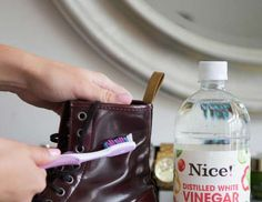 11. Scrub off water stains on leather boots with a soft toothbrush and vinegar. - Kathleen Kamphausen