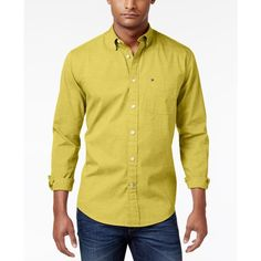 Tommy Hilfiger Men's Capote Shirt ($50) ❤ liked on Polyvore featuring men's fashion, men's clothing, men's shirts, men's casual shirts, maize, tommy hilfiger mens shirts, mens casual button down shirts, mens button down shirts, mens casual button up shirts and mens shiny shirt