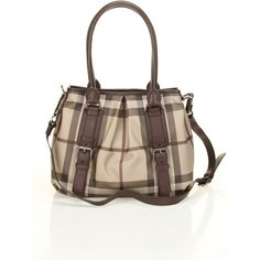 Burberry Smoked Check Small Northfield Tote In Plum - Beyond the Rack ❤ liked on Polyvore