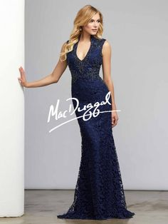 Indigo Blue Dress | Plunging Neckline | Mac Duggal 80320D