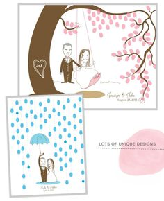 @Mery I love the idea of a fingerprint guestbook. Although I might do something else as well, I really want one to hang in our home. I don't know that I sold on the style of the drawings completely, but I do like the rain and the cherry blossoms/swing. What do you think?