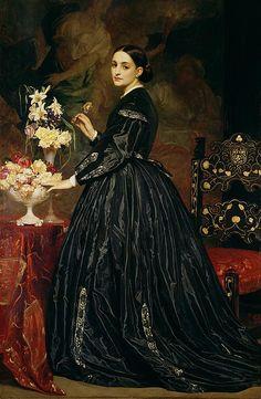 Mrs James Guthrie Painting  - Arranging black flowers