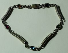 Sterling Silver and Multi Colored Stone Link Bracelet 8 by onetime, $10.25