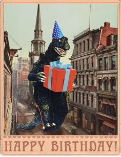 Birthday Card b movie poster Birthday Cards Vintage Monster art Godzilla Retro Card Birthday alternate histories geekery Vintage Birthday Wishes Happy Birthday Funny, Happy Birthday Quotes, Happy Birthday Images, Happy Birthday Greetings, Man Birthday, Humor Birthday, Birthday Ideas, Funny Happy, Birthday Gifts