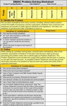 DMAIC Problem-Solving Worksheet