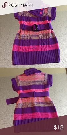 Pink and purple toddler girl sweater dress So cute with the asymmetrical cowl neck and link and purple colors, girls size 2t, perfect with leggings and boots Cherrystix Dresses Casual
