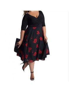 Rochie XXL in clos midi neagra cu flori rosii Gabriela