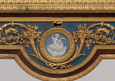 """Detail of secretary on a stand (secrétaire à abattant or secrétaire en cabinet)  Attributed to Adam Weisweiler (1744–1820)  Pottery """"cameos"""" by Josiah Wedgwood and Sons (1759–present)"""