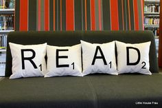 Scrabble pillows: A nice addition to a home library or reading room from Etsy.Erasmus tee: One of my favorite bookish quotes on a tee shirt from Missional Wear; Dream Library, Library Books, Library Ideas, Future Library, Library Design, Scrabble Tiles, Scrabble Letters, Thing 1, Up House