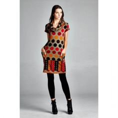 2015 Winter and Fall Short Sleeve Variety Circles Sweater Dress. Fall Sweater Dress Great fabric and a must-have, short sleeves with colorful circles, knit sweater, come in sizes small to large
