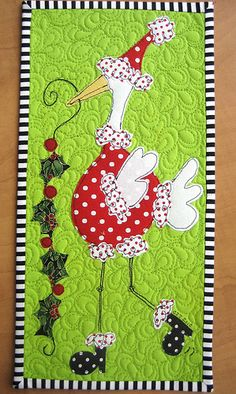 Christmas wallhanging ~ blogger has tutorial on how to applique as she did her wallhanging