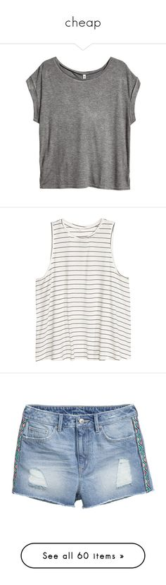 """""""cheap"""" by fatimaflores123 ❤ liked on Polyvore featuring tops, h&m tops, jersey top, round neck top, short sleeve tops, slit top, shirts, tank tops, blusas and h&m"""