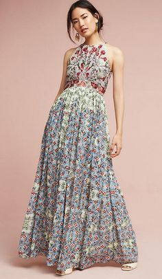 Adelise Beaded Halter Dress | Anthropologie