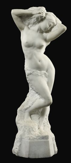 A FRENCH CARVED WHITE MARBLE FIGURE OF A FEMALE NUDE 'VOLUBILIS' BY ALFRED BOUCHER (1850-1934), SECOND HALF 19TH CENTURY - 94 cm. high.