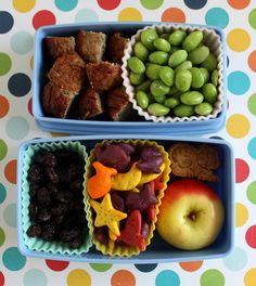 meatballs, edamame (but I'd replace with another veggie like peas or green beans), raisins, fish crackers, cookies and a small apple