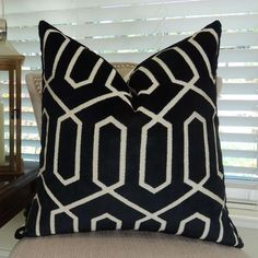 Plutus Bengal Lattice Handmade Throw Pillow (Rectangle - Double Sided X Black, Size 20 x 36 (Down, Geometric)