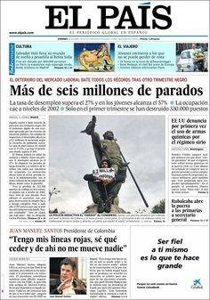 Los Titulares y Portadas de Noticias Destacadas Españolas del 26 de Abril de 2013 del Diario El País ¿Que le parecio esta Portada de este Diario Español?