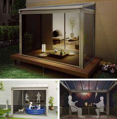 夕涼み空間 網戸テラス 夏の夕暮れ、戸外で夕涼み。デッキのテラス屋根に、上げ下げロール網戸をセット。