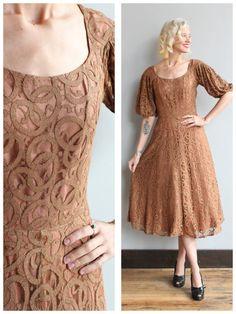 1950s Dress // Mocha Lace Party Dress // by dethrosevintage