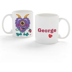 Personalized Love Monster Coffee Mug For Him, White