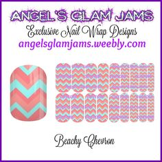 Beachy Chevron Jamberry Nail Wraps by Angel's Glam Jams  ORDER HERE: http://angelsglamjams.weebly.com/beachy-chevron.html  #Nails #Chevron