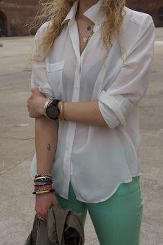 black bra, white shirt, bright denim