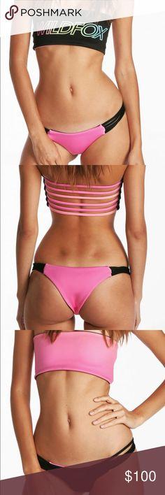 Wildfox Bandeau Bikini Set NWOT wildfox bikini set. Cheeky bottoms, both top and bottom and reversible. Neoprene material. Wildfox Swim Bikinis