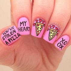"Pink ""Valentine's Day"" Pizza Nails ♥♥♥"