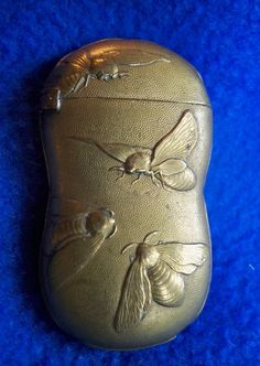 Antique Brass Match Safe Vesta Case w/Embossed Bees