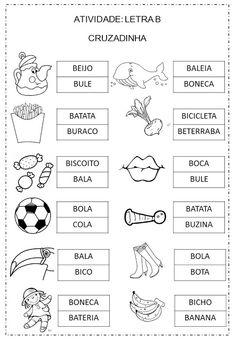 Criar Recriar Ensinar: LETRA B Portuguese Lessons, First Grade, Literacy, Professor, Gap, Pasta, Preschool Literacy Activities, Writing Activities, Abc Centers